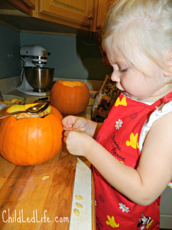 It is amazing to watch children exploring new things. Check out our Fall Pumpkin Soup with Children post at Child Led Life for more ideas on kids in the kitchen.