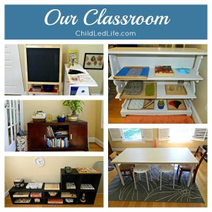 Great Montessori Inspired inspiration in this homeschool classroom!