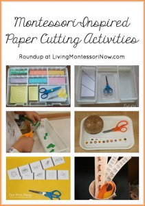 Montessori cutting ideas from Living Montessori Now for indoor activities for kids at ChildLedLife.com