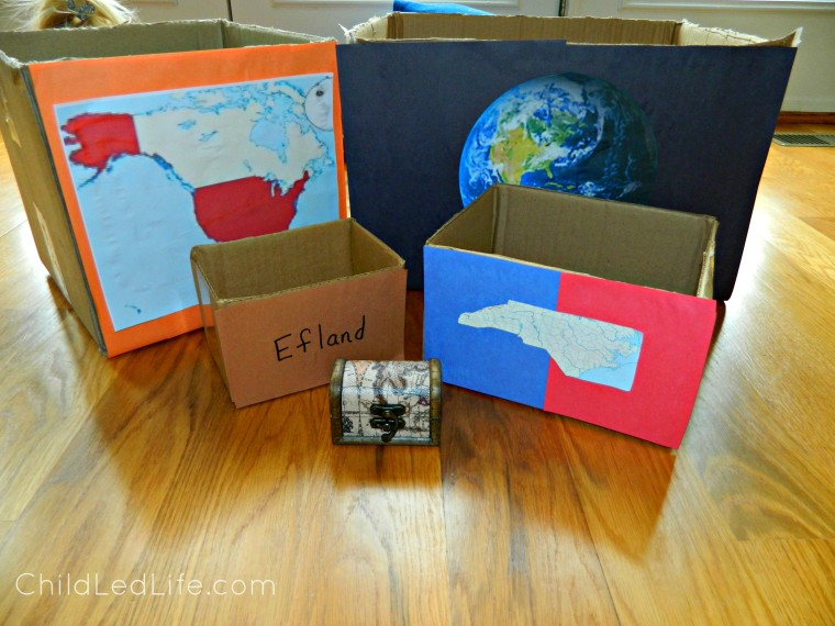 Geography Boxes made from recycled boxes on ChildLedLife.com