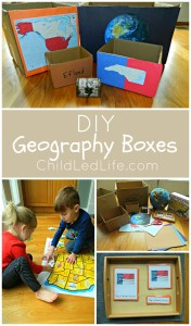 FREE to make DIY Geography Boxes! Find all the 12 Months of Montessori Learning geography posts on ChildLedLife.com