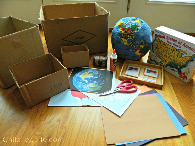 FREE to make geography boxes with lessons on ChildLedLife.com