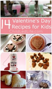14 Valentine's Day Recipes just for the little ones in your life. Don't forget to link up your favorite kids in the kitchen posts to the Party In The Kids' Kitchen Link Up on ChildLedLife.com