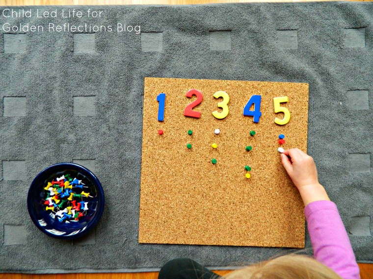 Counting push pins is a fun way to help learn more about nails on Golden Reflections Blog