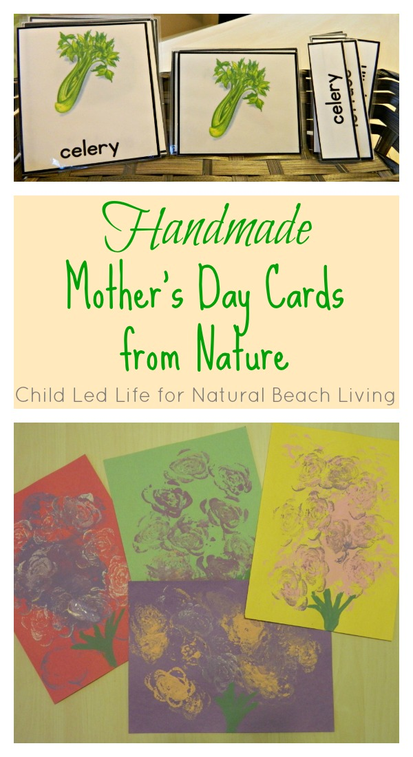 Handmade Mother's Day cards from Nature, Montessori, natural materials, handmade fun for kids, 3 part lesson, Handmade gifts, www.naturalbeachliving.com