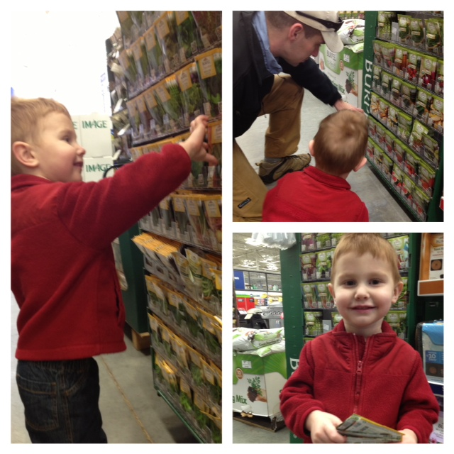 Kids seed shopping! What a fun way to get kids involved in planning the garden. Find more on ChildLedLife.com