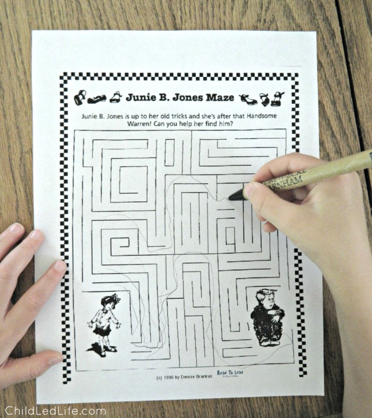 Free printable mazes to learn more about Junie B. Jones. Learn more about Barbara Park too on ChildLedLife.com