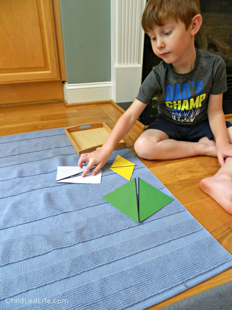 DIY constructive triangles are easy to make and a great sensorial lesson for your preschooler. Find more on ChildLedLife.com