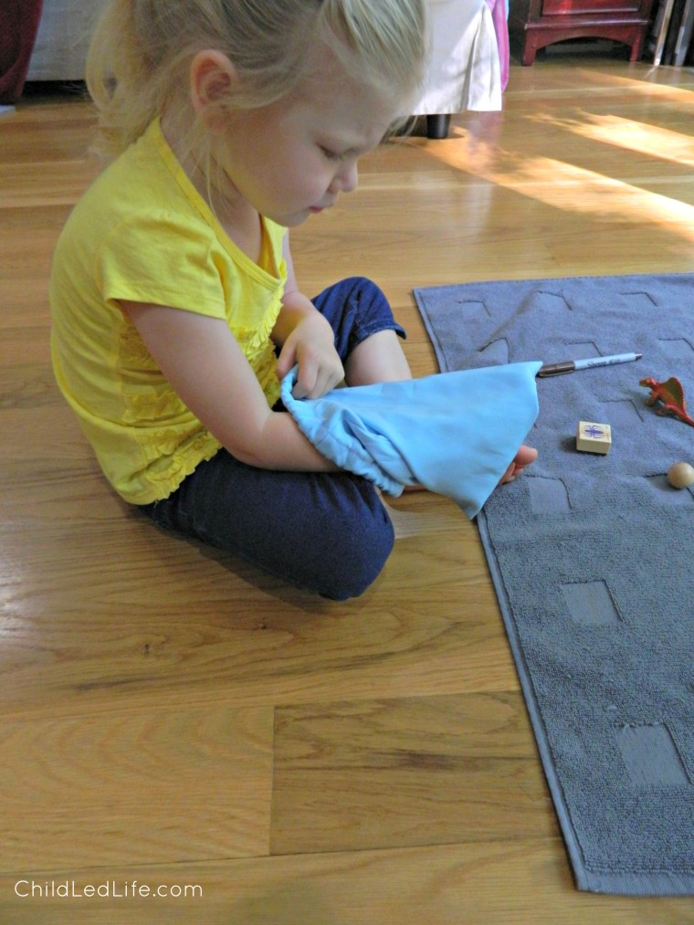 Keep the younger sibling occupied with a Montessori mystery bag on ChildLedLife.com