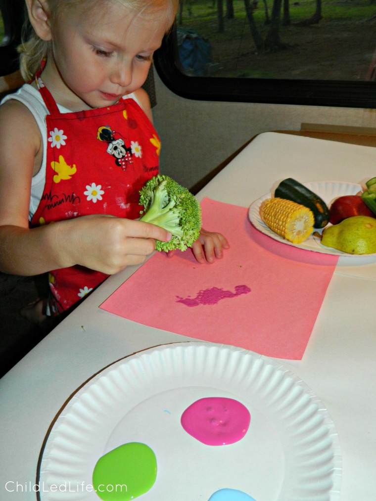 Exploring stamps with broccoli on ChildLedLife.com