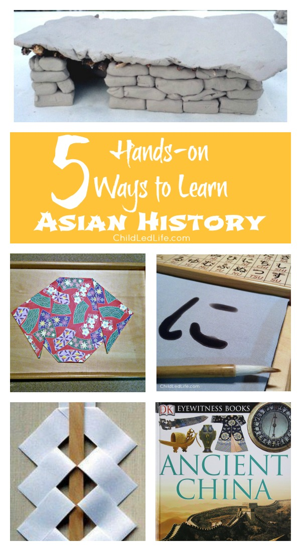 Hands on learning about Asian history with origami, Japanese writing, and Sumerian house building!