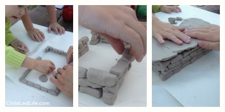 Very fun hands on way to learn about Sumerian houses. We used clay and made our own bricks for learning about Asian history.
