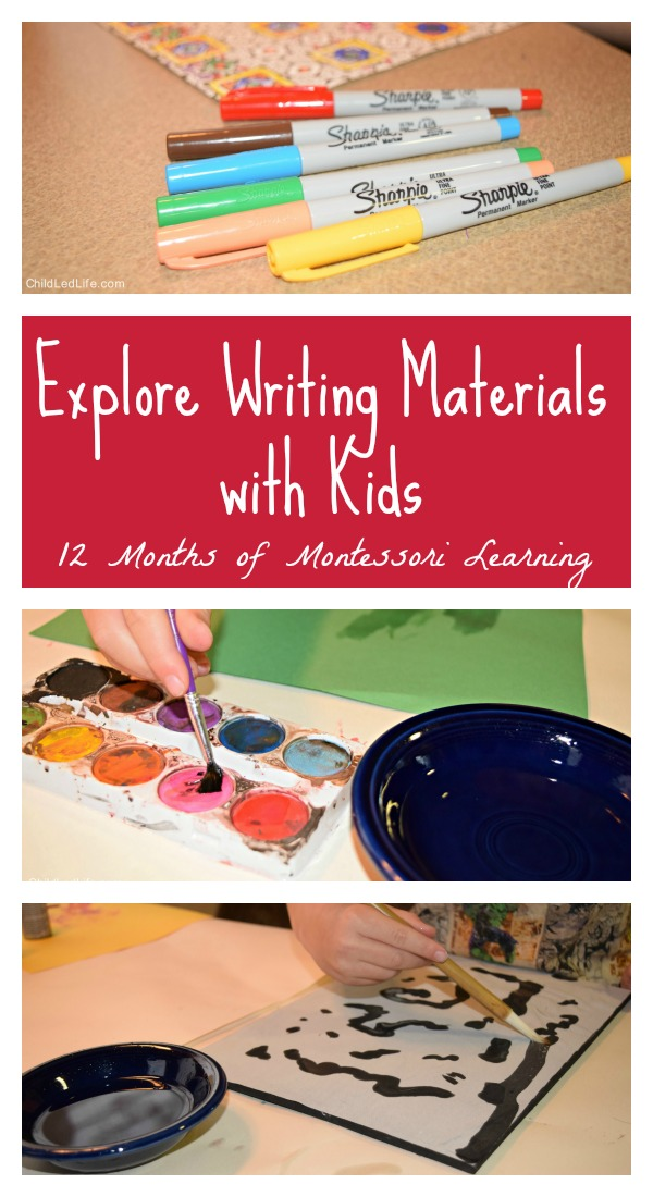 Exploring Writing Materials with Kids on Child Led Life
